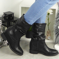 Adley Black Hidden Heel Wedge Boots