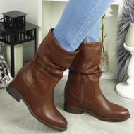 Adley Brown Hidden Wedge Boots