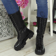 CADENCE Black Lace Up Chunky Boots