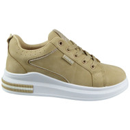 Avalynn Khaki Platform Lace Up Comfy Bling Trainers