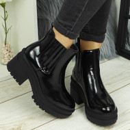 Lilianna Black Chunky Heel Cleated Ankle Shoes