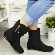 ALBA Black Hidden Wedge Ankle Boots