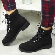 Oakleigh Black Fleece Work Comfy Ankle Shoes