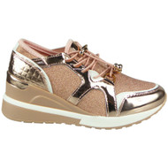 Myah Champagne Lace Up Comfy Bling Wedge Trainers