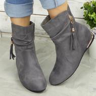 ALBA Grey Hidden Wedge Ankle Boots