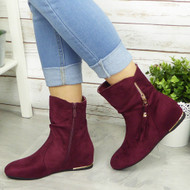 ALBA Wine Hidden Wedge Ankle Boots