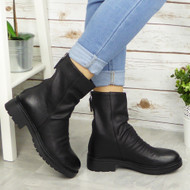 ARAMINTA Black Ankle Back Zip Casual Boots