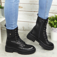 ARLA Black Ankle Lace Up Casual Combat Boots