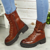 ARLA Camel Ankle Lace Up Casual Combat Boots