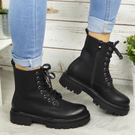 BETHAN Black Lace Up Army Boots