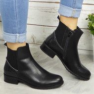 Blossom Black Ankle Gusset Casual Comfy Boots