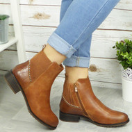 Blossom Camel Ankle Gusset Casual Comfy Boots