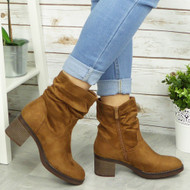 CAOIMHE Camel  Ankle Rouched Casual Cowboy Winter Boots