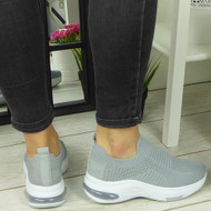 Gladys Grey Trainers Slip On Jogging Pumps Boots