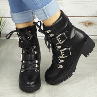 ELEANOR Black Buckle Ankle Boots