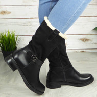 FRIDESWIDE Black Mid Calf Zip Fleece Comfy Boots