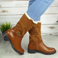 FRIDESWIDE Camel Mid Calf Zip Fleece Comfy Boots