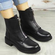 JOLEEN Black Zip Ankle Boots