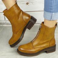 JOLEEN Camel Zip Ankle Boots