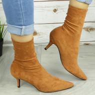 Tenley Camel Mid Kitten Heel Pointed Toe Shoes