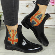 'LOLA' Ladies Black Flag Rain Chelsea Ankle Boots
