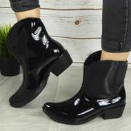 'LOLA' Ladies Black Cowboy Rain Chelsea Ankle Boots