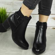 GEORGIANA Black Ankle Mid Heel Zip Casual Boots