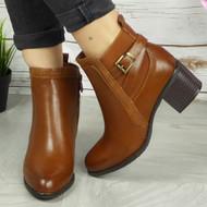 GEORGIANA Camel Ankle Mid Heel Zip Casual Boots