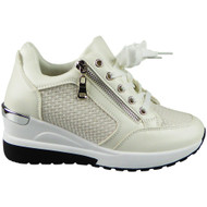 RUBY White New Wedge Trainers Lace Up Comfy Boots