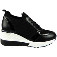 SEREN Black New Wedge Trainers Slip On Sock Boots
