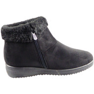PENELOPE Black Button Low Ankle Winter Warm Boots