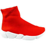 TRACI Red-White Slip On Sock Shoes