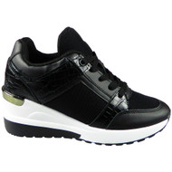 KEEGAN New Black Wedge Lace Up Comfy Trainers