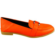 Rebecca Orange Slip On Flats Work School Shoes