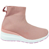 JESSAMY Pink Wedge Trainers Sock Comfy Boots