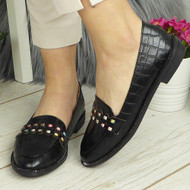 MARLEY Black Loafers Bling Flats Work Shoes