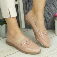 MARLEY Pink Loafers Bling Flats Work Shoes