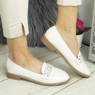 MARLEY White Loafers Bling Flats Work Shoes