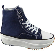 WILLA Navy Canvas Trainers Lace Up Casual Boots