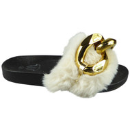 ZAYIR Beige Gold Chain Faux Fur Slippers