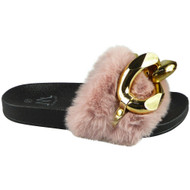 ZAYIR Pink Gold Chain Faux Fur Slippers
