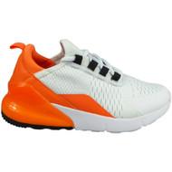 ZAVONTE White/Orange Plimsole Lace Up Gym Trainers