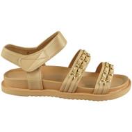 ROSALEE Beige Chain Slingback Flat Comfy Sandals