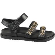 ROSALEE Black Chain Slingback Flat Comfy Sandals
