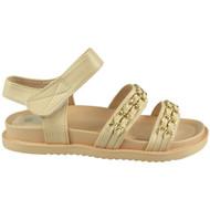 ROSALEE Nude Chain Slingback Flat Comfy Sandals