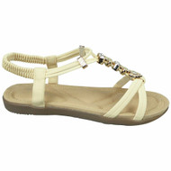 Joelle Beige Strappy Comfy Bling Shoes