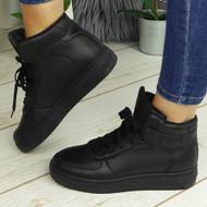 PRISHA Black Fashion Comfy Casual Trainers