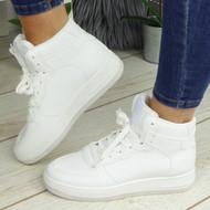 PRISHA White Fashion Comfy Casual Trainers