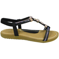 PACEY Black Strappy Comfy Bling Shoes