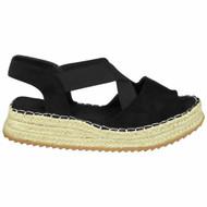 EIDAN Black Espadrilles Elastic Slingback Sandals